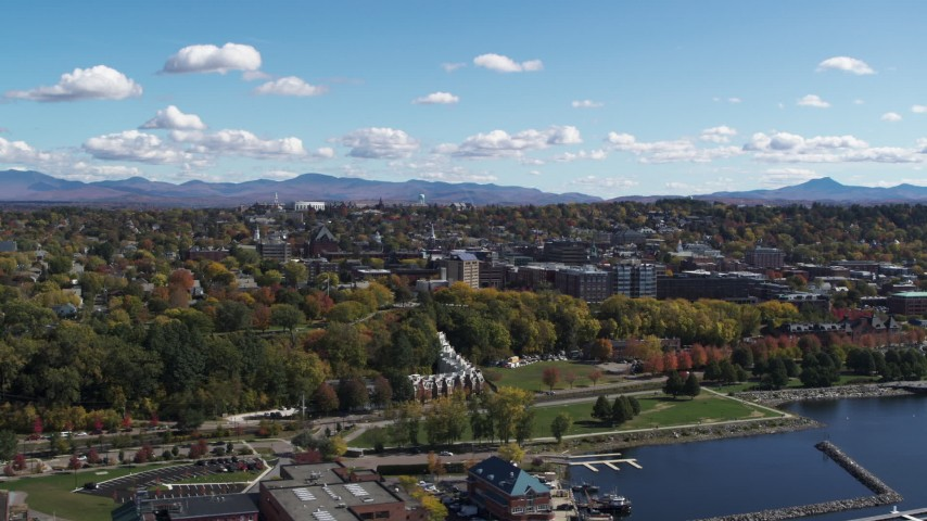 5.7K stock footage aerial video of circling Waterfront Park and the downtown area in Burlington, Vermont Aerial Stock Footage | DX0002_222_004