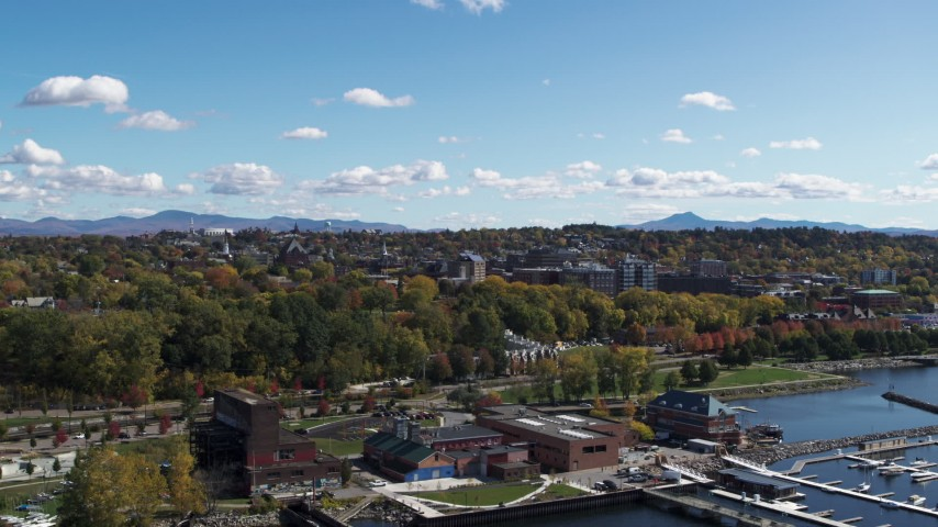 5.7K stock footage aerial video of the downtown area seen from lakefront buildings, Burlington, Vermont Aerial Stock Footage | DX0002_222_005