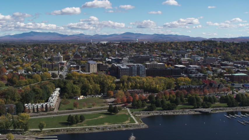 5.7K stock footage aerial video of orbiting downtown, seen from Lake Champlain, Burlington, Vermont Aerial Stock Footage | DX0002_222_009