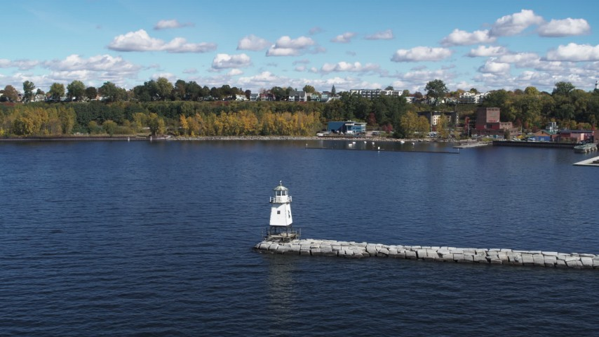 5.7K stock footage aerial video approach and orbit a lighthouse on Lake Champlain, Burlington, Vermont Aerial Stock Footage | DX0002_222_012