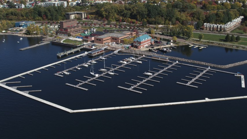5.7K stock footage aerial video of orbiting a marina on Lake Champlain, Burlington, Vermont Aerial Stock Footage | DX0002_222_015