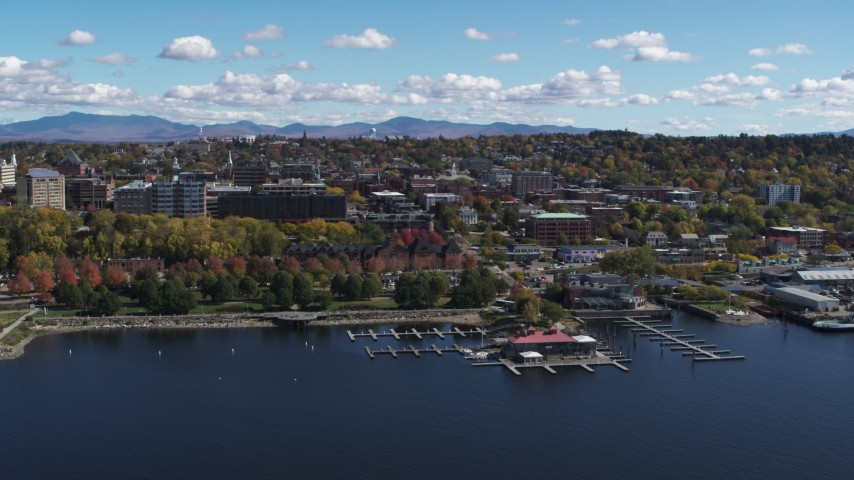 5.7K stock footage aerial video of slowly orbiting downtown, seen from Lake Champlain, Burlington, Vermont Aerial Stock Footage | DX0002_222_018