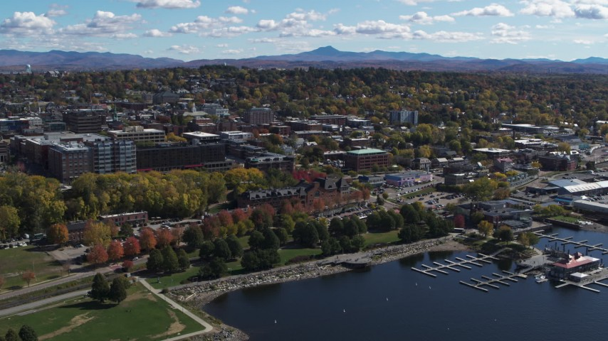 5.7K stock footage aerial video of orbiting downtown, seen from the lakefront park, Burlington, Vermont Aerial Stock Footage | DX0002_222_024