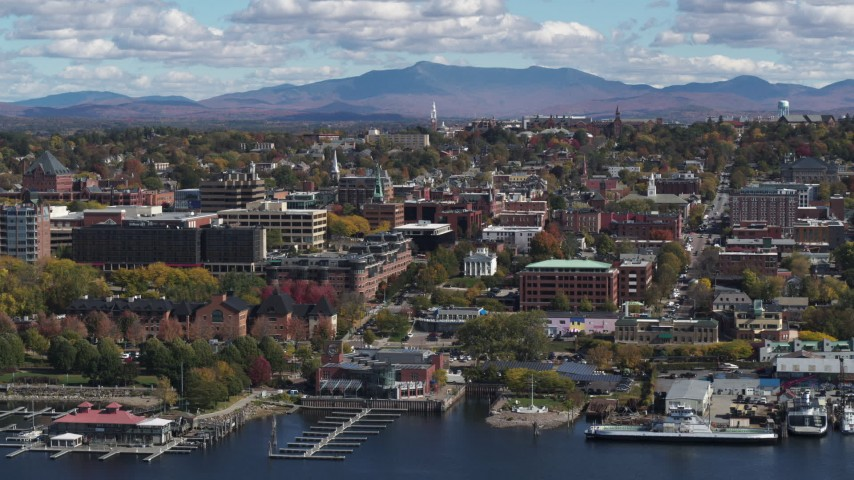 5.7K stock footage aerial video of a stationary view of city buildings in downtown, Burlington, Vermont Aerial Stock Footage | DX0002_222_032
