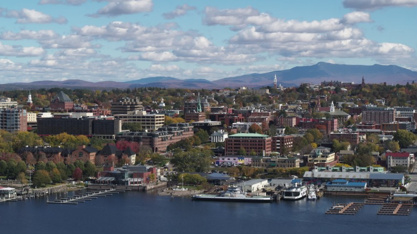 5.7K stock footage aerial video slowly flying by city buildings in downtown, Burlington, Vermont Aerial Stock Footage | DX0002_222_034