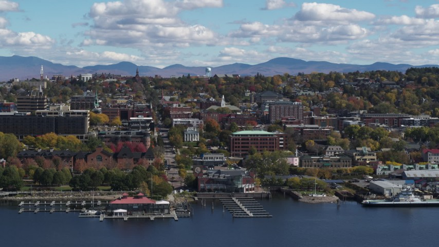 5.7K stock footage aerial video slowly passing by city buildings in downtown, Burlington, Vermont Aerial Stock Footage | DX0002_222_035