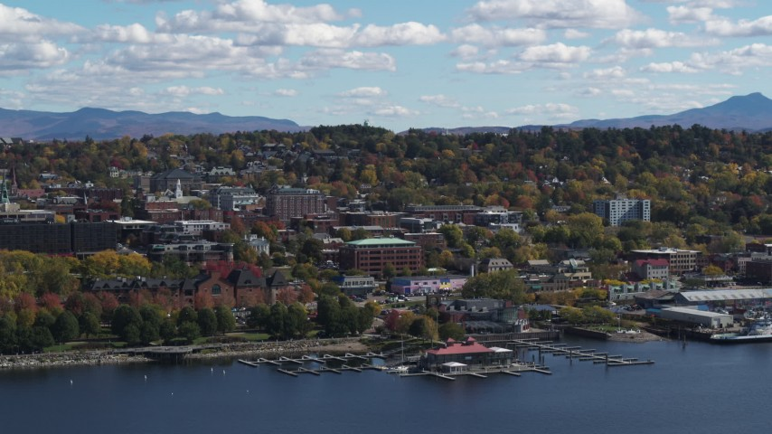 5.7K stock footage aerial video slowly orbiting city buildings in downtown, Burlington, Vermont Aerial Stock Footage | DX0002_222_036