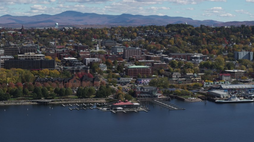 5.7K stock footage aerial video of a view of city buildings in downtown, Burlington, Vermont Aerial Stock Footage | DX0002_222_037