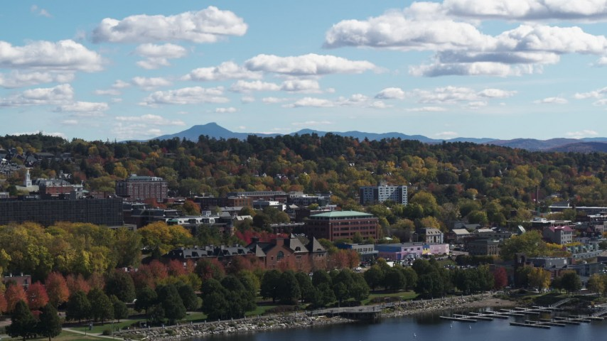 5.7K stock footage aerial video of circling and flying away from buildings in downtown, Burlington, Vermont Aerial Stock Footage | DX0002_222_042