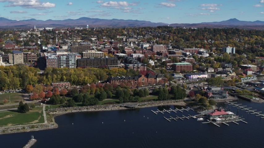5.7K stock footage aerial video orbit downtown buildings, park and marina, Burlington, Vermont Aerial Stock Footage | DX0002_224_005
