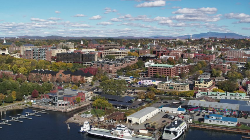 5.7K stock footage aerial video orbit downtown buildings and marinas, Burlington, Vermont Aerial Stock Footage | DX0002_224_007