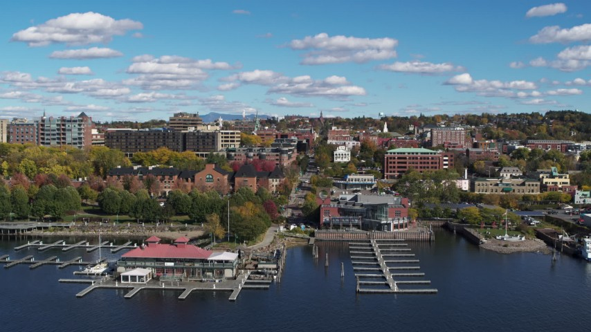 5.7K stock footage aerial video fly over marina toward downtown, Burlington, Vermont Aerial Stock Footage | DX0002_224_016
