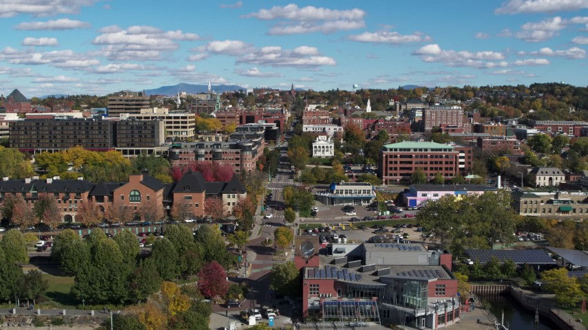 5.7K stock footage aerial video of city buildings and College Street seen during descent, Burlington, Vermont Aerial Stock Footage | DX0002_224_017