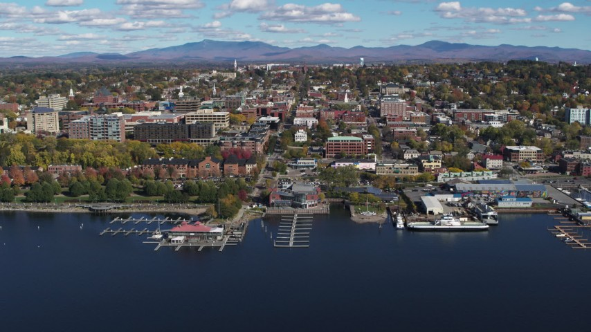 5.7K stock footage aerial video fly away from marinas and downtown, Burlington, Vermont Aerial Stock Footage | DX0002_224_019