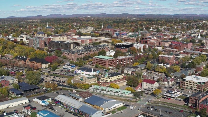 5.7K stock footage aerial video of orbiting buildings in downtown, Burlington, Vermont Aerial Stock Footage | DX0002_224_021