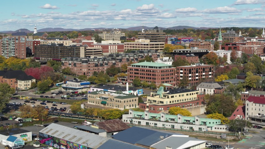 5.7K stock footage aerial video descend and orbit office building in downtown, Burlington, Vermont Aerial Stock Footage | DX0002_224_032