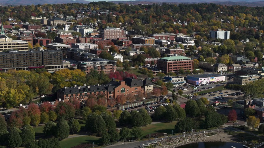 5.7K stock footage aerial video approach and orbit office building in downtown, Burlington, Vermont Aerial Stock Footage | DX0002_224_036
