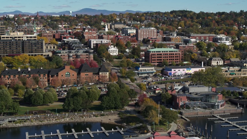 5.7K stock footage aerial video descend and orbit office building in downtown, Burlington, Vermont Aerial Stock Footage | DX0002_224_037