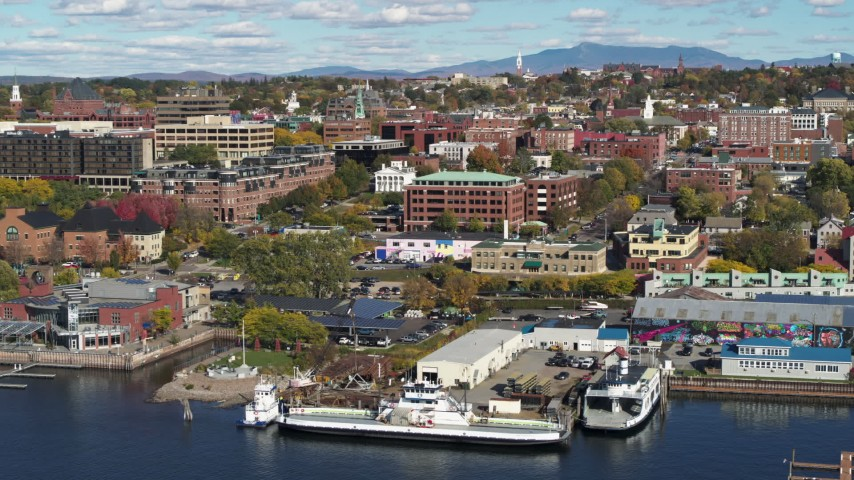5.7K stock footage aerial video of orbiting an office building in downtown, Burlington, Vermont Aerial Stock Footage | DX0002_224_038