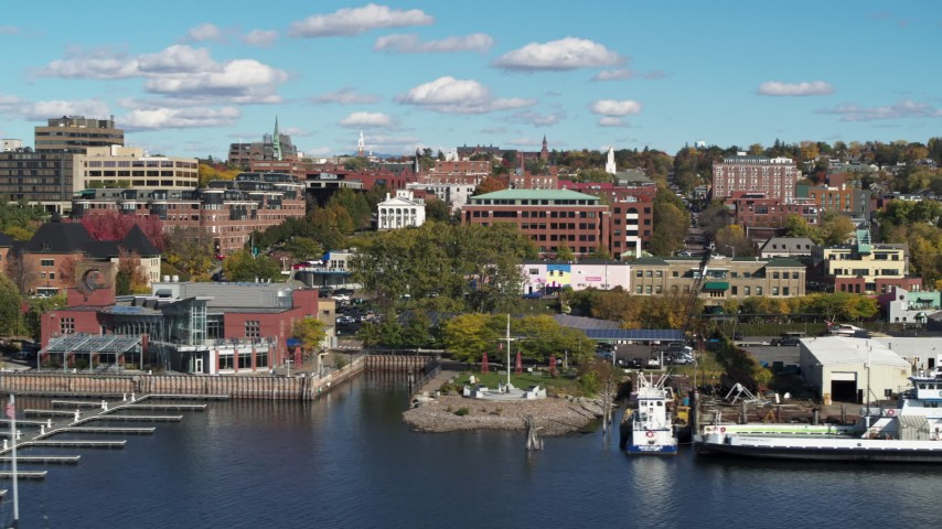 5.7K stock footage aerial video a low orbit of office building in downtown, Burlington, Vermont Aerial Stock Footage   DX0002_224_040
