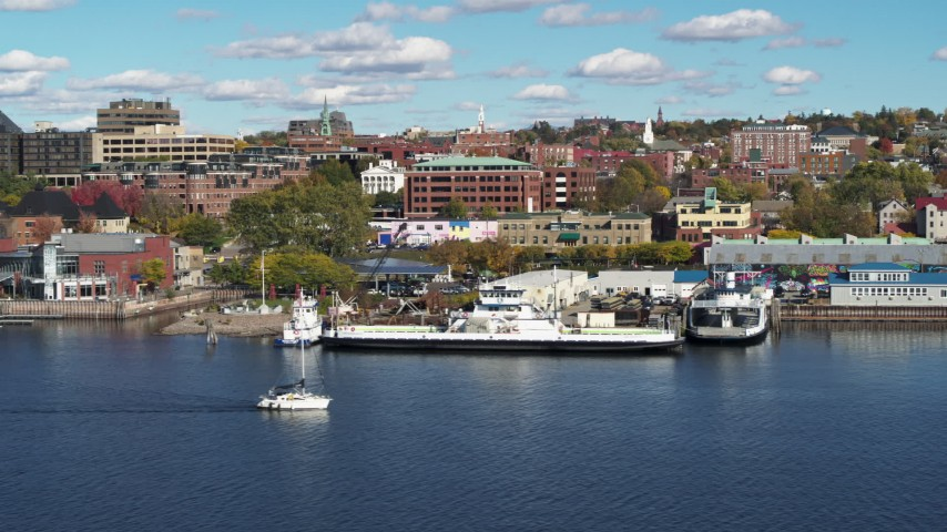 5.7K stock footage aerial video a low orbit of office building and marinas in downtown, Burlington, Vermont Aerial Stock Footage | DX0002_224_041