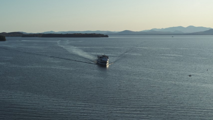 5.7K stock footage aerial video tracking a ferry on Lake Champlain near Burlington, Vermont Aerial Stock Footage | DX0002_224_042
