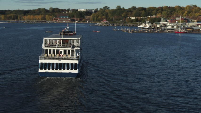 5.7K stock footage aerial video orbit around a ferry on Lake Champlain, Burlington, Vermont Aerial Stock Footage | DX0002_224_046