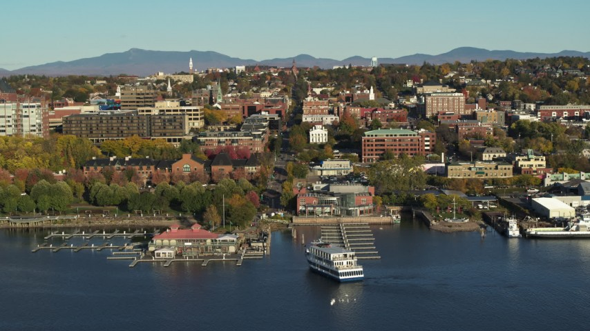 5.7K stock footage aerial video orbit around city buildings and two marinas in downtown, Burlington, Vermont Aerial Stock Footage | DX0002_224_051