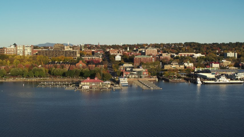 5.7K stock footage aerial video of orbiting city buildings near marinas, Burlington, Vermont Aerial Stock Footage | DX0002_224_060