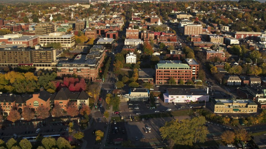 5.7K stock footage aerial video of flying away from office buildings in downtown, Burlington, Vermont Aerial Stock Footage | DX0002_224_064