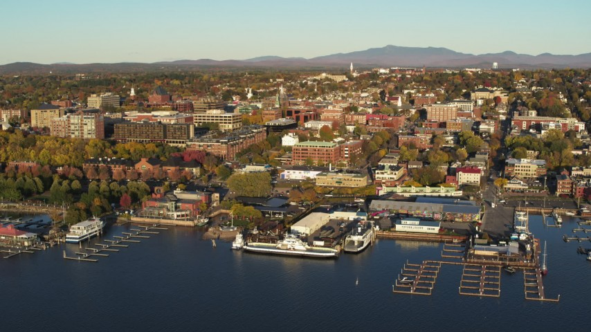 5.7K stock footage aerial video of a wide orbit of downtown buildings and two marinas, Burlington, Vermont Aerial Stock Footage | DX0002_224_067