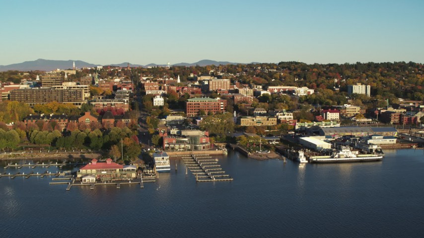 5.7K stock footage aerial video orbit downtown buildings, Waterfront Park and Lake Champlain marinas, Burlington, Vermont Aerial Stock Footage | DX0002_224_071