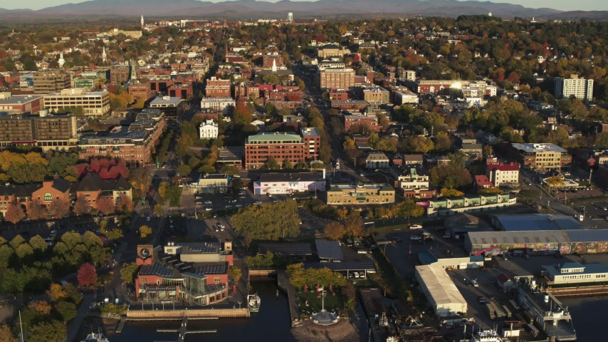 5.7K stock footage aerial video reverse view and orbit of downtown's office and city buildings, Burlington, Vermont Aerial Stock Footage | DX0002_224_076