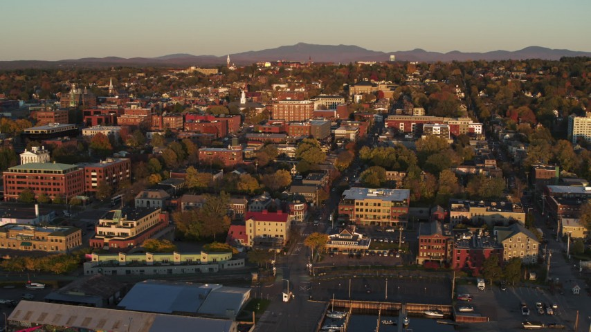 5.7K stock footage aerial video fly over a marina toward downtown, Burlington, Vermont Aerial Stock Footage | DX0002_225_004