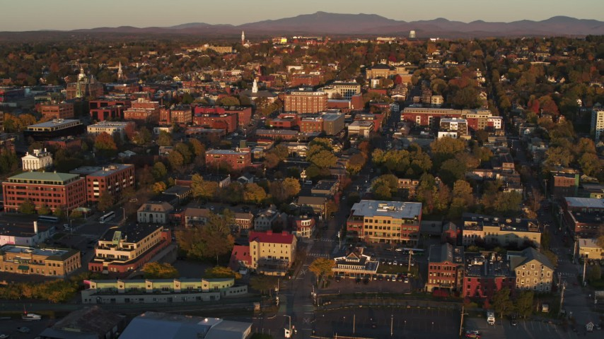 5.7K stock footage aerial video reverse view and orbit of buildings in downtown, Burlington, Vermont Aerial Stock Footage | DX0002_225_005