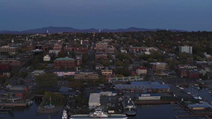 5.7K stock footage aerial video of orbiting downtown and marina at twilight, Burlington, Vermont Aerial Stock Footage | DX0002_225_039