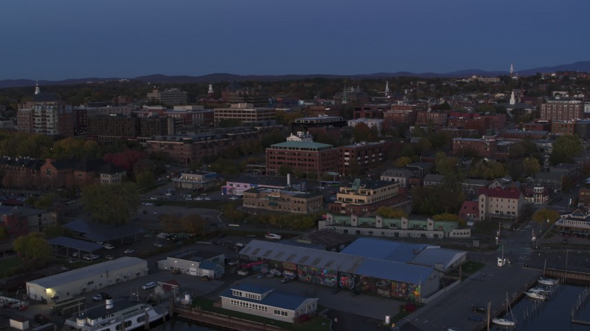 5.7K stock footage aerial video circling around the downtown area at twilight, Burlington, Vermont Aerial Stock Footage | DX0002_225_045