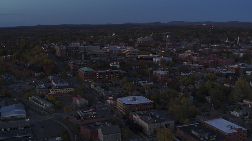 5.7K stock footage aerial video slowly orbit and approach downtown area office buildings at twilight, Burlington, Vermont Aerial Stock Footage | DX0002_225_047