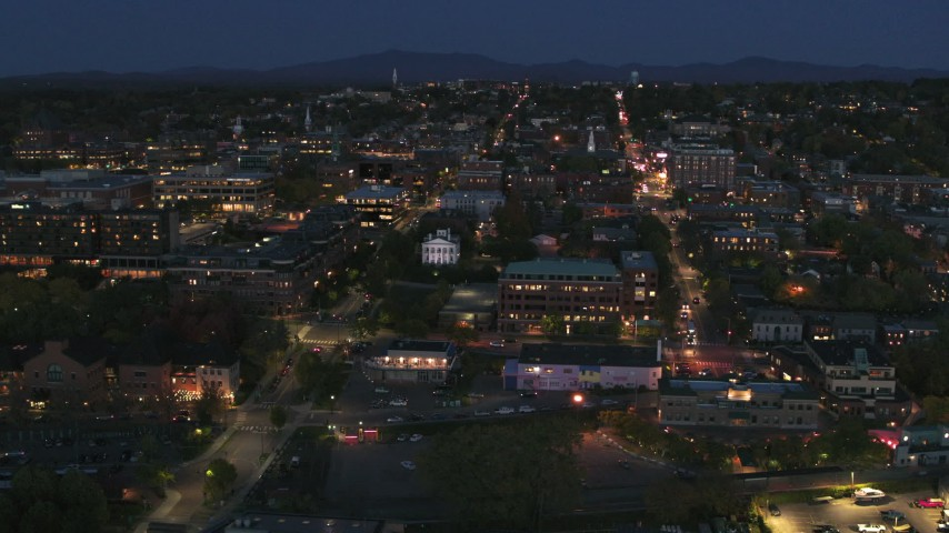 5.7K stock footage aerial video orbit the city's downtown area lit up for the night, Burlington, Vermont Aerial Stock Footage | DX0002_226_023