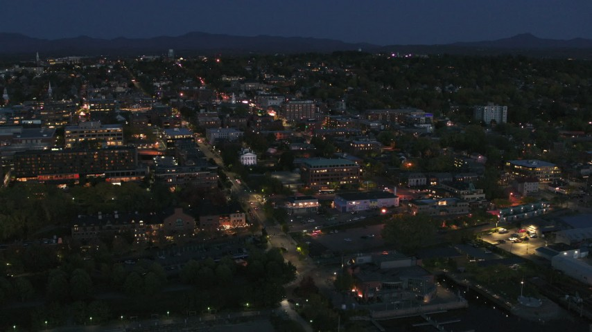 5.7K stock footage aerial video a view of the city's downtown area lit up for the night, Burlington, Vermont Aerial Stock Footage | DX0002_226_024