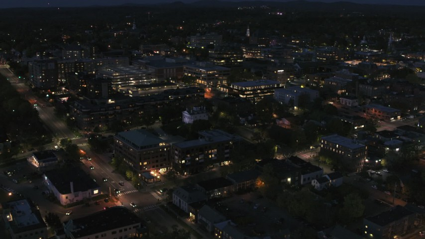 5.7K stock footage aerial video of the downtown area lit up for nighttime, Burlington, Vermont Aerial Stock Footage | DX0002_226_031