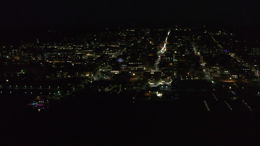 5.7K stock footage aerial video of orbiting buildings and streets in downtown lit up for nighttime, Burlington, Vermont Aerial Stock Footage   DX0002_226_043