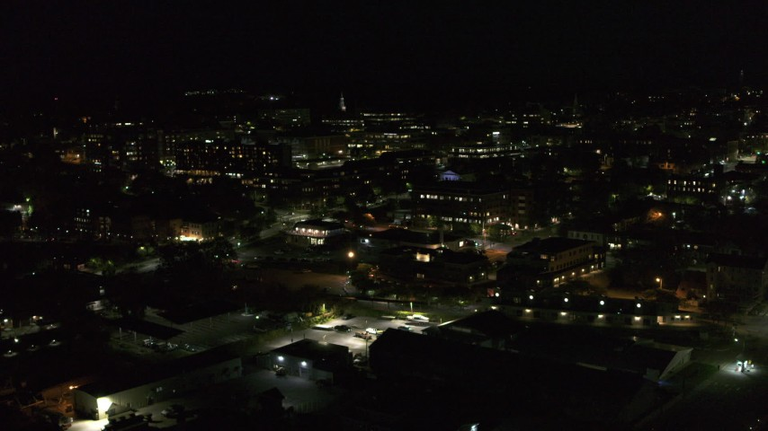 5.7K stock footage aerial video of office buildings in downtown at night, Burlington, Vermont Aerial Stock Footage | DX0002_226_050