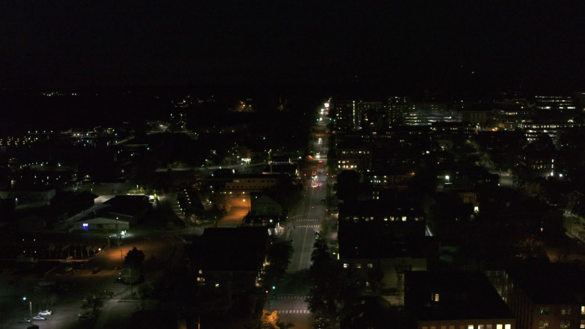 5.7K stock footage aerial video of Battery Street and office buildings in downtown at night, Burlington, Vermont Aerial Stock Footage | DX0002_226_051