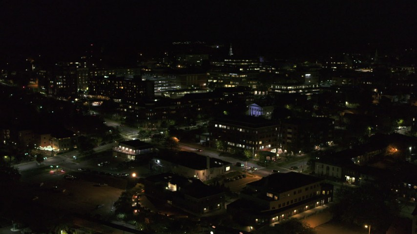 5.7K stock footage aerial video orbit Battery Street and office buildings in downtown, then fly away at night, Burlington, Vermont Aerial Stock Footage | DX0002_226_053