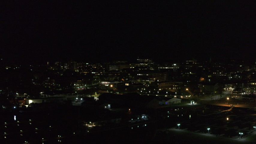 5.7K stock footage aerial video of circling downtown at night, Burlington, Vermont Aerial Stock Footage   DX0002_226_054