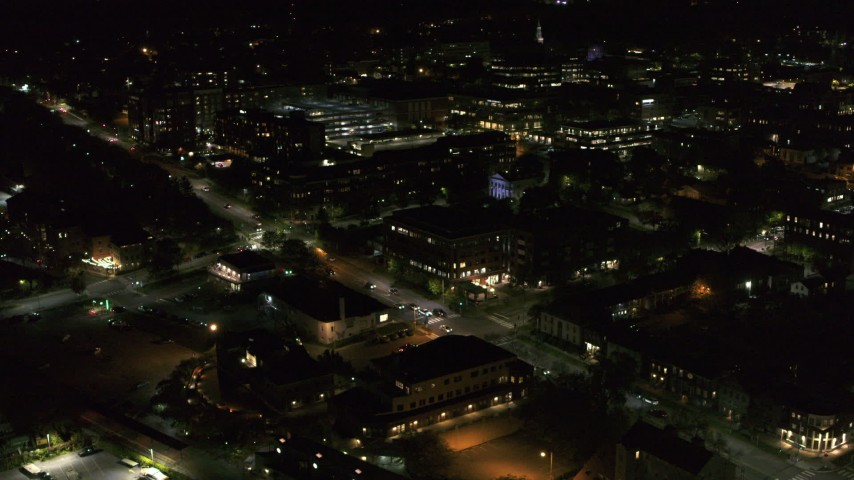 5.7K stock footage aerial video of office buildings by Battery Street at night, Burlington, Vermont Aerial Stock Footage | DX0002_226_056