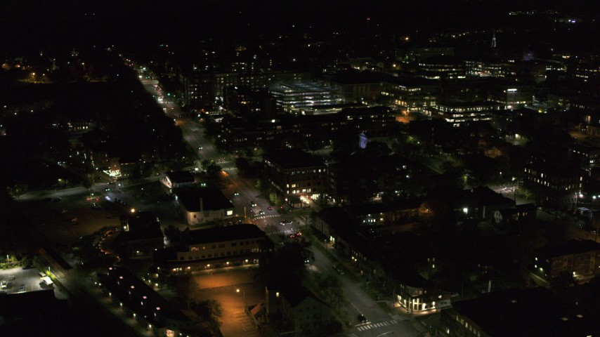 5.7K stock footage aerial video fly around office buildings by Battery Street at night, Burlington, Vermont Aerial Stock Footage | DX0002_226_057
