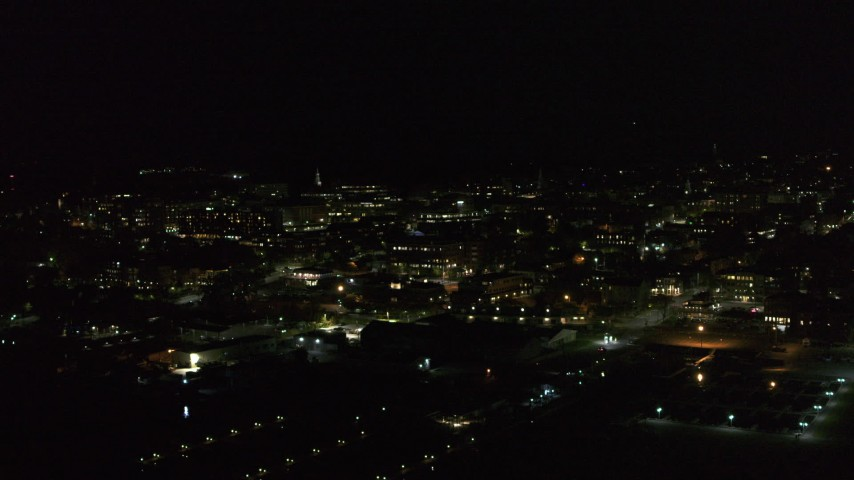 5.7K stock footage aerial video fly around the downtown area at night, Burlington, Vermont Aerial Stock Footage | DX0002_226_058