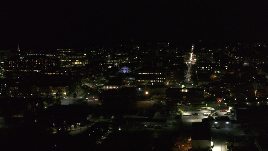 5.7K stock footage aerial video orbit the downtown area near Main Street at night, Burlington, Vermont Aerial Stock Footage | DX0002_226_062